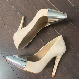 Zara Metal Cap Toe High Heel Shoe - Brand New 6